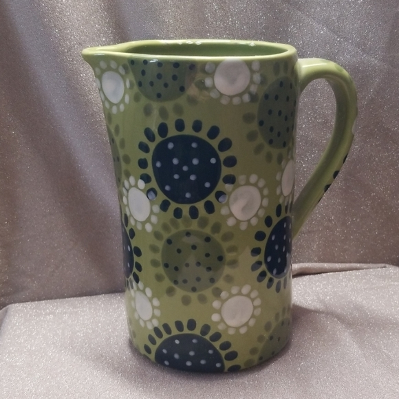Anthropologie Other - Anthropologie Retro Pitcher Green Dots Flowers